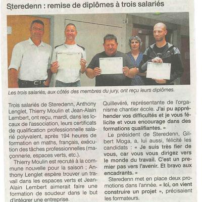 Diplômes décernés à 3 salariés de Steredenn