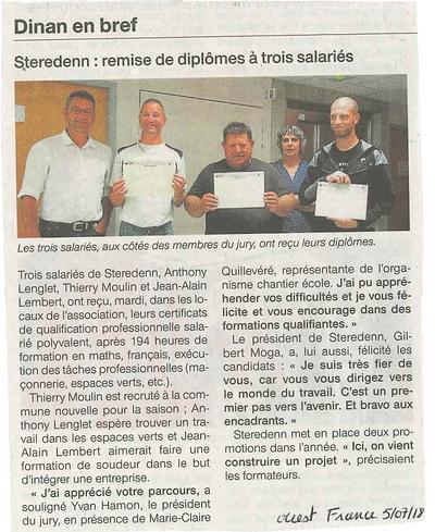 Diplômes décernés à 3 salariés de Steredenn 0